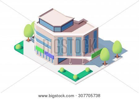 Modern Shopping Center Vector Illustration. Mall Emporium People Buy Necessary And Useful Things. Bu