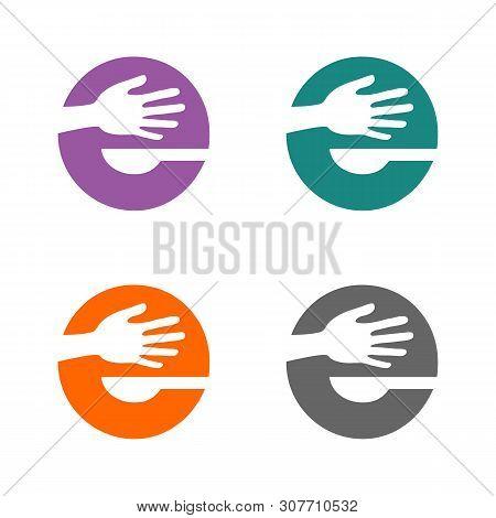 E Letter And Hands Logo Template Illustration Design. Vector Eps 10.