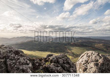 View From Zibid Hill In Autumn Sulovske Vrchy Mountains In Slovakia