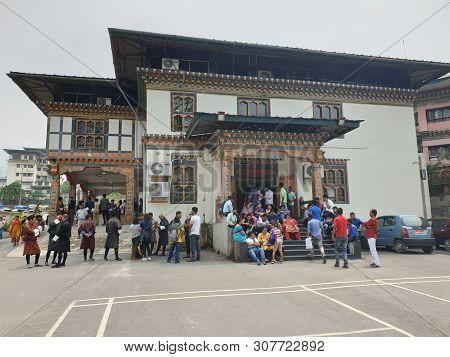 Thimpu, Bhutan - April 2019: The Memorial Chorten In Thimpu, Bhutan Which Is Having A Buddha Temple