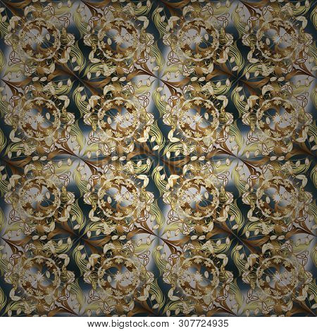 Seamless Beautiful Fabric Pattern. Vector - Stock. Doodles Cute Pattern. Nice Background. Beige And
