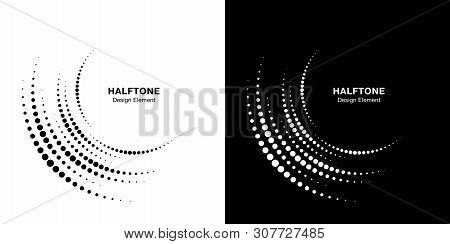 Set of Halftone incomplete circle frame dots logo isolated on background. Circular part design element for treatment, technology. Half round border Icon using halftone circle dots texture. Vector poster