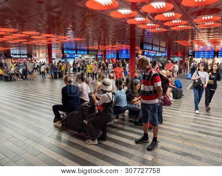 Prague, Czech Republic - June 10 2019: Prague Main Station Interior Crowded With Travellers. A Bustl