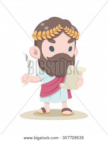 Cute Style Greek Scholar Reading Document With Feather Pen In Other Hand Illustration