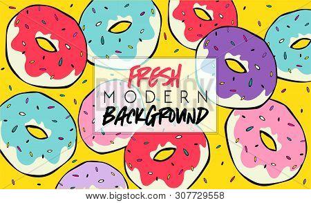 Summer. Fresh Modern Background. Fashion Poster Or Banner. Summer Vector Donuts Sweet Illustration E
