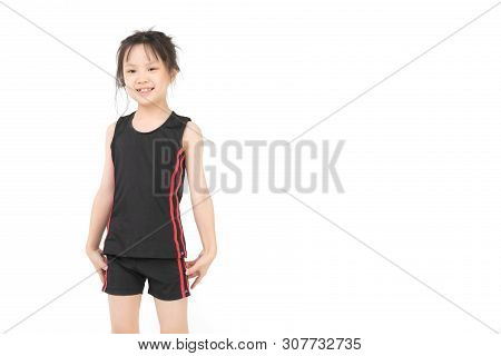 Pretty Asian Girl In Sportswear Is Standing And Posing, Smile To Camera, Studio Shot On White Backgr