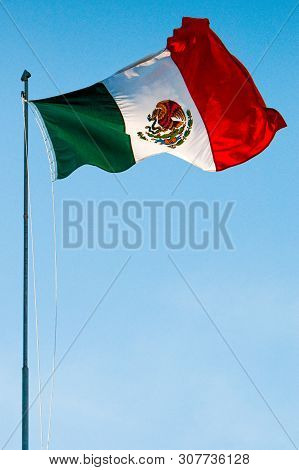 Mexican Flag In Wind With All Colours And Symbol