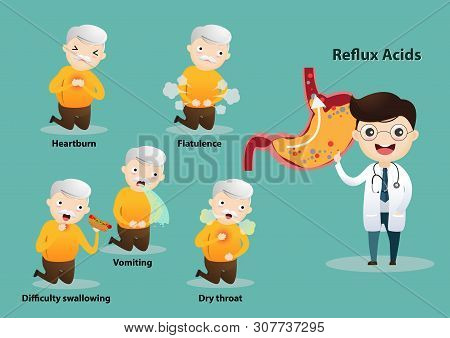 Old Man Suffering From Stomach Painful Or Acid Reflux Or Heartburn, Gas, Bloating, Belching And Flat