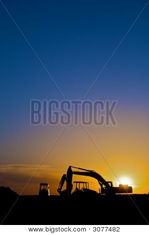 Construction Equipmen In Silhouette Vertical