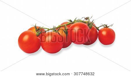 Group Tomatoes Isolated On The White Background. Cherry Tomato Is A Small That Has A Sweet, Firm Tex