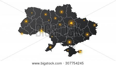 Ukraine Map With Epicenter Or Signal Circle Points. Infographics With Editable Separated Layers, Zon