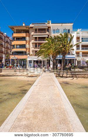 Mallorca, Spain - May 6, 2019: Architecture Of The Port De Pollenca (puerto Pollensa), A Popular Fam