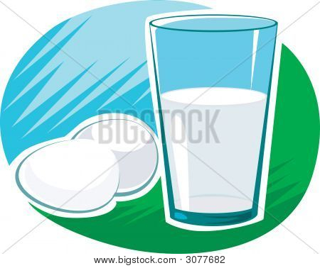 Illustration of milk in glass and eggs poster