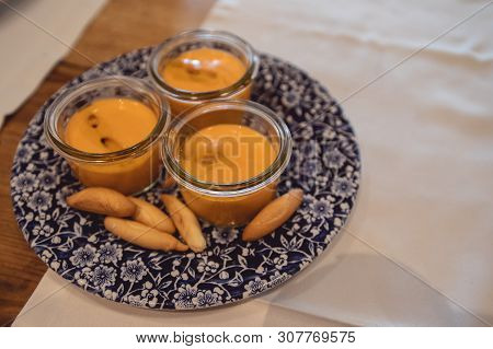 Rich Spanish Salmorejo Dish, With Olive Oil And Bread Spikes.
