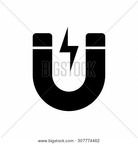 Black Magnet With Lightning Icon Isolated. Horseshoe Magnet, Magnetism, Magnetize, Attraction Sign.