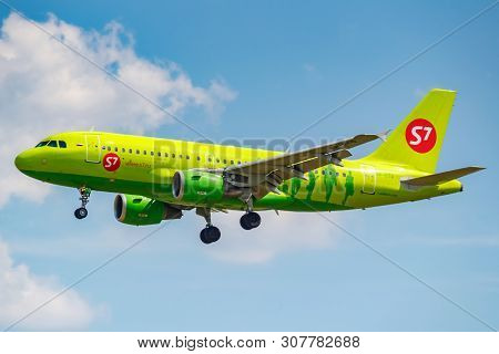 Moscow, Russia - June 21, 2019: Aircraft Airbus A319-114 Vp-btq Of S7 Siberia Airlines Landing At Do