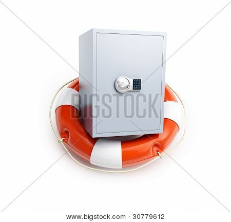 Life Buoy safe isolated on a white background poster