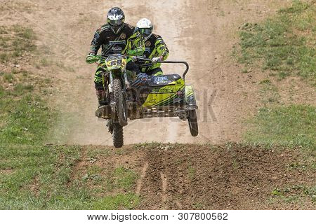 Brezova Nad Svitavou, Czech Republic - June 15, 2019: Front View Of Sidecars Jumping In Internationa