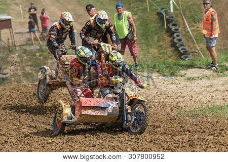 Brezova Nad Svitavou, Czech Republic - June 15, 2019: Two Sidecars Are Jumping In International Cham
