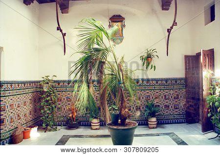 Beautiful Spanish Color Atrium With Moorish Tiles And Local Flowers