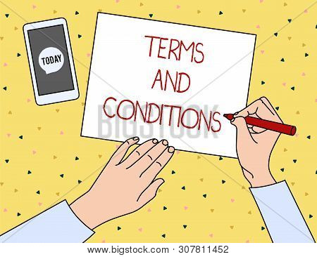 Conceptual Hand Writing Showing Terms And Conditions. Business Photo Showcasing Rules That Apply To