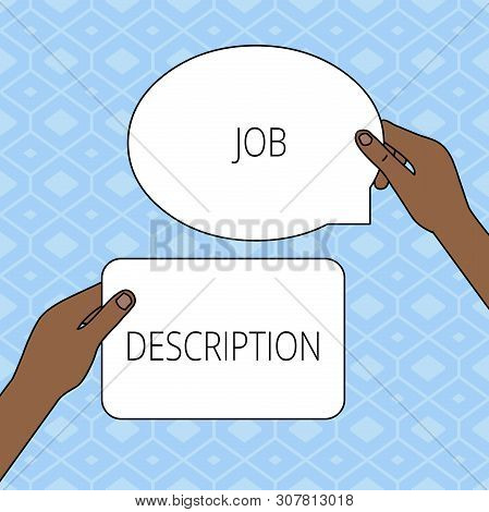 Writing note showing Job Description. Business photo showcasing a formal account of an employee s is responsibilities Two Figured Tablets Signs Held in Hands One Above Other Text Space. poster