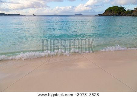A View On Caribbean Sea From The Trunk Bay Beach At Sunset, St John Island, Us Virgin Islands.