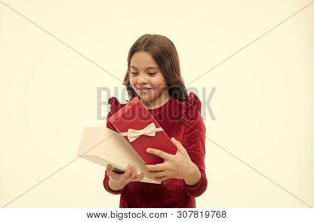 What Is Inside. Little Child Open Gift Box. Small Girl Got Birthday Present. Little Birthday Girl. A