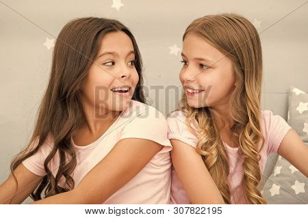 Girls Sisters Spend Pleasant Time Communicate In Bedroom. Awesome Perks Of Having Sister. Sisters Ol