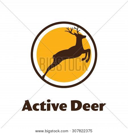 Active Deer - Black Vector Silhouette Of Reindeer With Antlers - Vector Logo