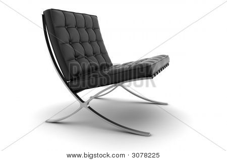 Black Armchair Isolated On White Background