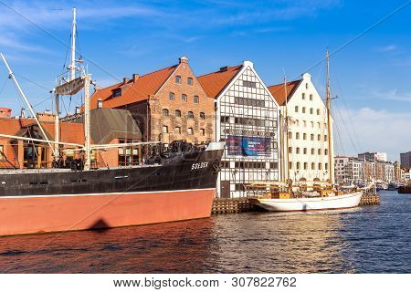 Gdansk, Poland - June 22, 2019: Museum Ship Soldek And National Maritime Museum On Motlawa River And