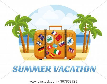 Summer Vacation. Summer Tropic Vacation. Vacation And Tourism Concept With Suitcase For Travel And R