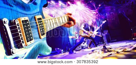 Live Music And Concert Background. Guitarist And Drummer And Singer.night Entertainment And Festival