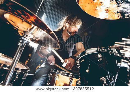 Music Background. Playing Drum And Music Concert Concept. Live Music And Rock Band On Stage