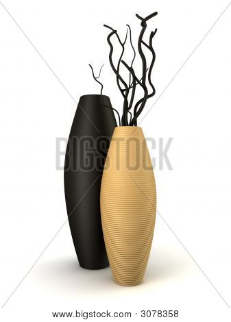 Two Brown And Black Vases With Dry Wood Isolated
