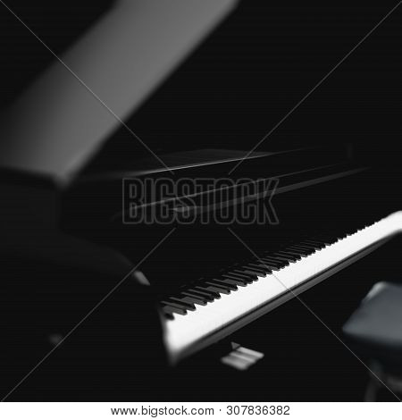 Close Up Image Of Grand Piano On Stage.piano Detail In Dark Space.3d Illustration