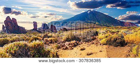 Colorful Scenic Landscape Of Sunset In Tenerife National Park Of Teide.alto De Guajara.canary Island