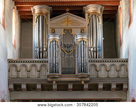 Odenthal, Germany - September 21, 2018: Historic Organ Of The Parish Church Saint Pankratius In Oden