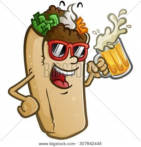 A Burrito Vector Cartoon With Attitude, Wearing Sunglasses And Drinking A Mug Of Cold Delicious Mexi