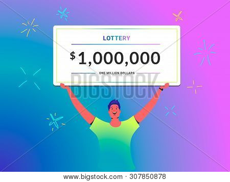 One Million Dollars Cheque Concept Vector Illustration Of Young Man Holds Over His Head Big Lottery