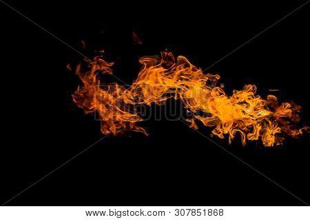 Dragon-shaped Fire. Fire Flames On Black Background. Fire On Black Background Isolated. Fire Pattern