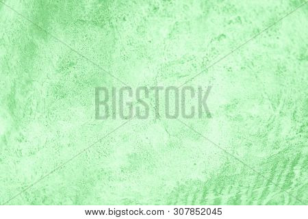 Green Neo Mint Color Background. Concrete Or Beton Pattern