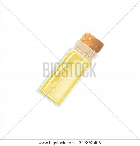 Yellow Oil Empty Phial With Cork, Tranparent Icy-white Vial, Scent Bottle, Medicine Bottle, Jar.