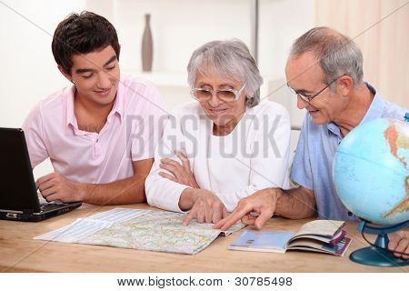 Family looking at a map
