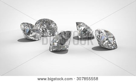 Luxury Diamonds On Whte Backgrounds - Clipping Path. 3d Rendering Model