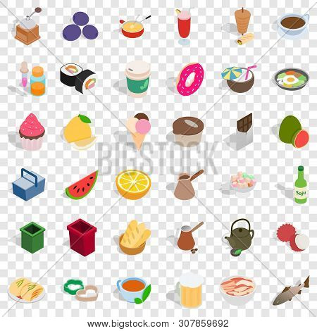 Gastronomy Icons Set. Isometric Style Of 36 Gastronomy Vector Icons For Web For Any Design