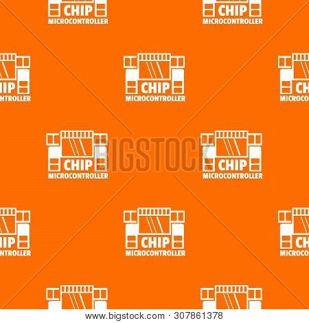 Chip Microcontroller Pattern Vector Orange For Any Web Design Best