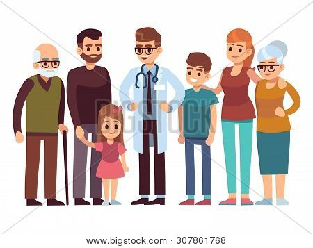 Family Doctor. Big Happy Health Family With Therapist, Patients Parents Kids Healthcare Professional