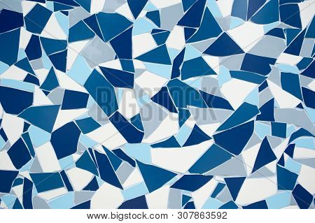 Rock Stone Blue Painted Symetry Decor Tile With Cracks Wall Background Texture. Tile Blue White And